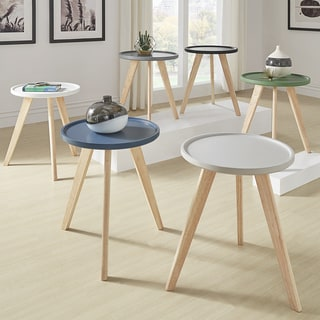 Hayden Mid-Century Round Tray Top End Table by iNSPIRE Q Modern