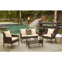 Handy Living Aruba 4 Piece Brown Woven Resin Rattan Indoor/Outdoor Seating Set