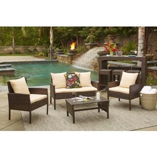 Handy Living Aruba 4 Piece Brown Woven Resin Rattan Indoor/Outdoor Seating Set