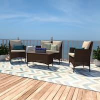 Handy Living Aruba Brown Woven Resin Rattan Indoor/Outdoor Seating and Coffee Table (Set of 4)