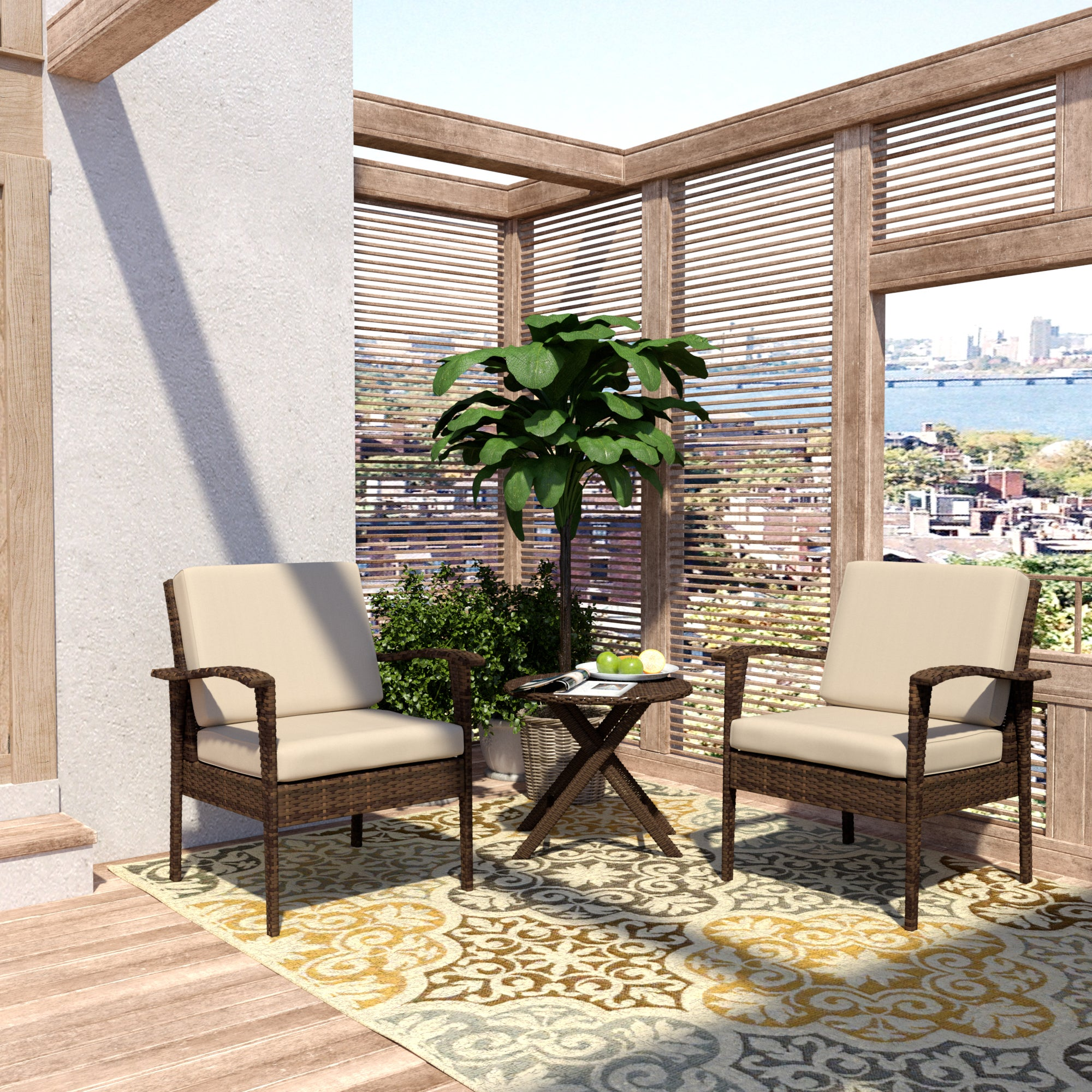 Magnificent Handy Living Aruba 3 Piece Brown Woven Resin Rattan Indoor Outdoor Chairs And Table Set Andrewgaddart Wooden Chair Designs For Living Room Andrewgaddartcom