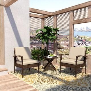 Handy Living Aruba 3 Piece Brown Woven Resin Rattan Indoor/Outdoor Chairs and Table Set