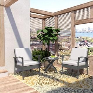 Handy Living Aruba 3 Piece Grey Woven Resin Rattan Indoor/Outdoor Chairs and Table Set