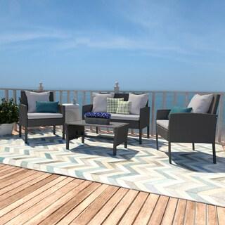 Handy Living Aruba Grey Woven Resin Rattan 4-piece Indoor/Outdoor Seating Set