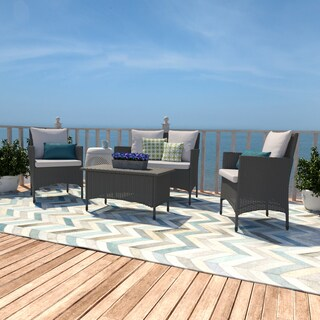 Handy Living Aruba Grey Woven Resin Rattan 4-piece Indoor/Outdoor Seating Set