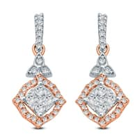 Cali Trove 1/3 Ct Round Dimaond Cluster Dangling Earring In 10K Rose Gold.