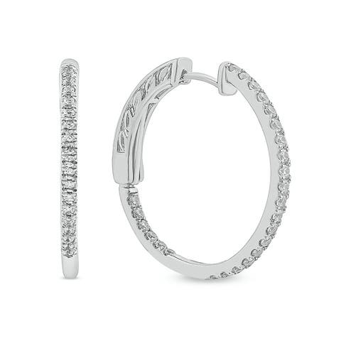 Cali Trove 1/2ct TDW Diamond Hoop Fashion Earring In 14kt White Gold