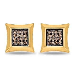 Cali Trove 1/6 Ct Round Champagne Diamond Square Shape Men's Stud Earring 10K Yellow Gold.