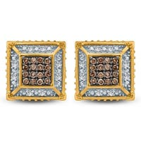 Cali Trove 1/4 Ct Round Champagne & White Diamond Men's Stud Earring In 10K Yellow Gold.