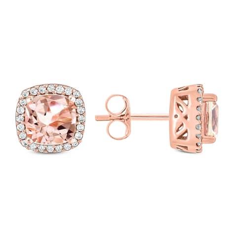 Cali Trove 1/10ct TDW Diamond & Cushion Shape Morganite Stud Earring In 10K Rose Gold