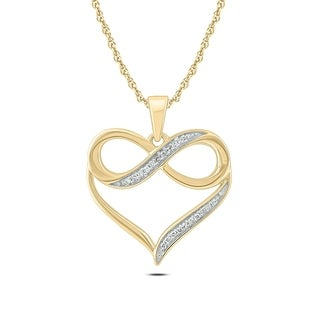 1/20 Ct Round Diamond Accent Infinity Heart Pendant Necklace In 10K Yellow Gold.