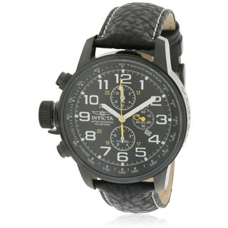 Invicta Mens Lefty Chronograph Black Leather Watch 3332