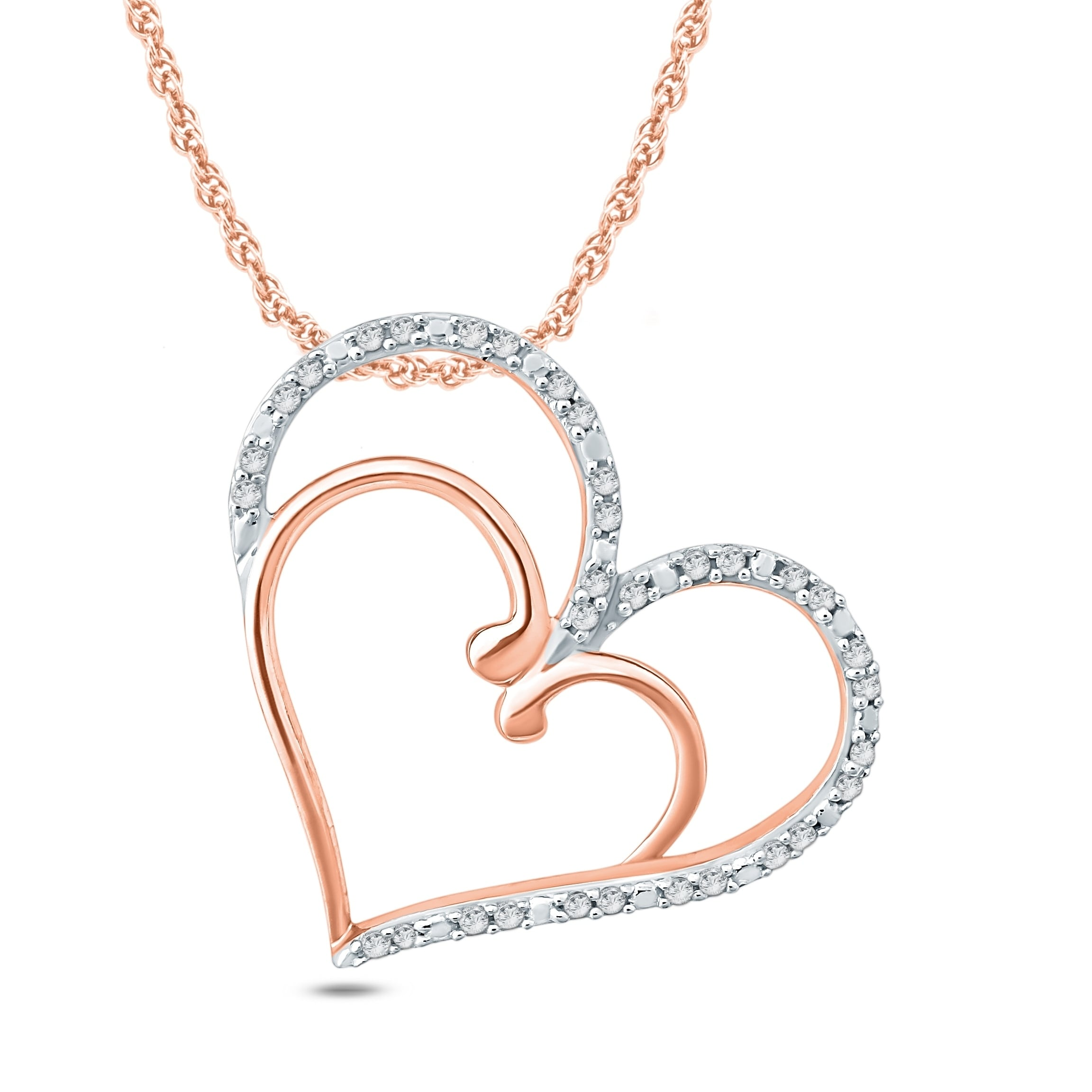718bae4b1d1efa Cali Trove 1/10 Ct Round Diamond Double Heart Pendant In 10K Rose Gold. -  Pink