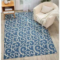 Nourison Grafix Blue/Ivory Abstract Area Rug - 7'10 x 9'10