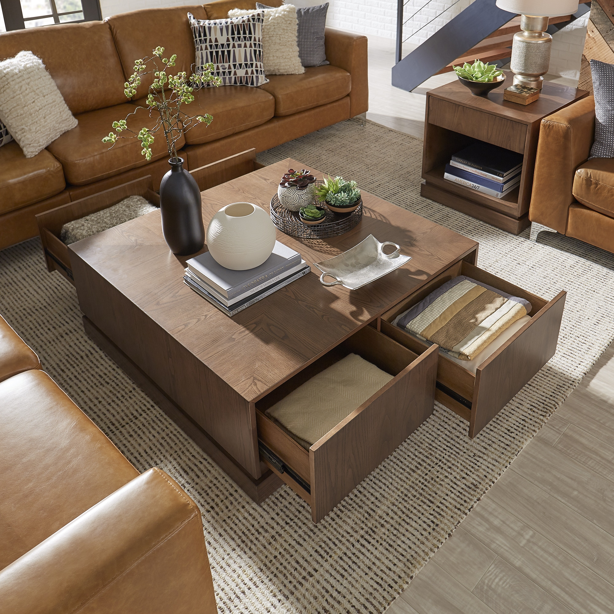 Hadley 4 Drawer Mid Century Wood Coffee Table By Inspire Q Modern Overstock 19457144