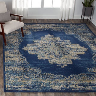 Nourison Grafix Distressed Navy Blue Medallion Rug - 5'3 X 7'3