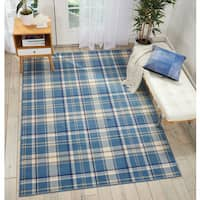 Nourison Grafix Blue/Beige Plaid Area Rug - 7'10 x 9'10
