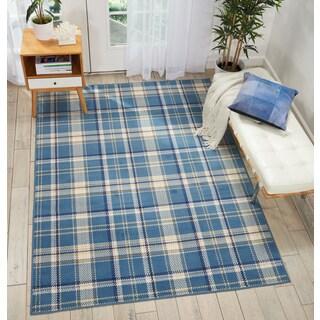 Nourison Grafix Blue/Beige Plaid Area Rug - 7'10 x 9'10