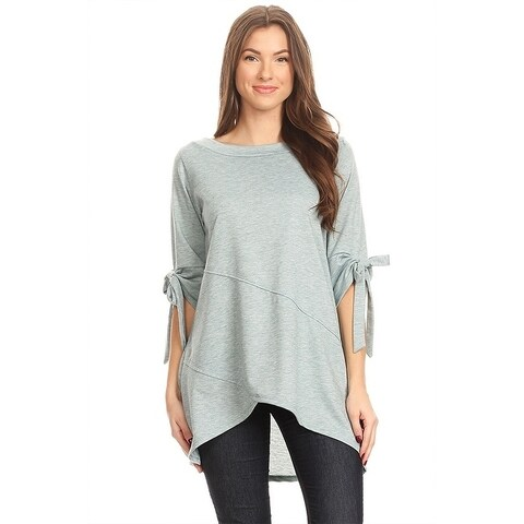 Women's Solid Knit Tunic Top with Tie Sleeves