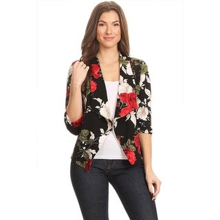 Women's Floral Draped Blazer Style Jacket