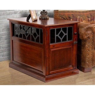 American Furniture Real Wood Dog Crate & End Table with Elegant Metal Accents (Medium)