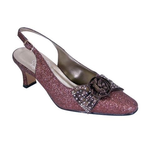 FLORAL Alaina Women Extra Wide Width Crystal RoseBow Glitter Slingback