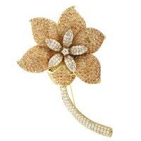 Luxiro Sterling Silver Gold Finish Champagne Cubic Zirconia Women's Flower Brooch - Orange