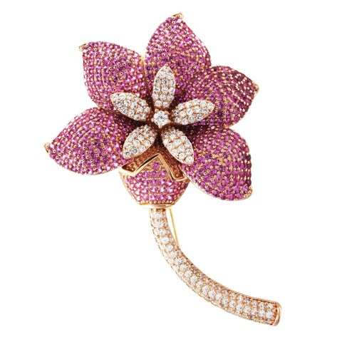 Luxiro Sterling Silver Rose Gold Finish Lab-created Ruby with Cubic Zirconia Women's Flower Brooch