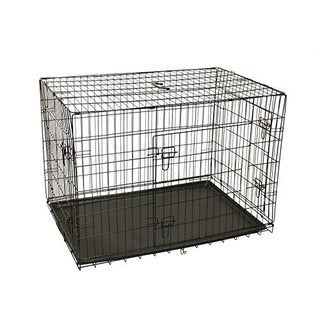 ALEKO 3 Doors Folding Suitcase Pet Cage Kennel With ABS Tray