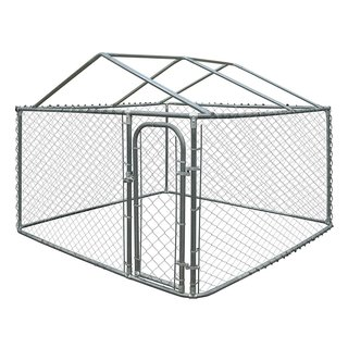 ALEKO DIY Chain Link Box Dog Kennel With Roof Frame