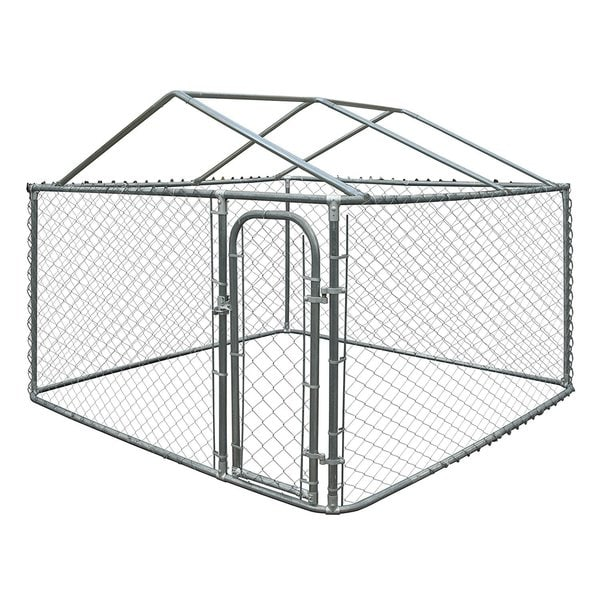 ALEKO DIY Chain Link Box Dog Kennel With Roof Frame. Opens flyout.