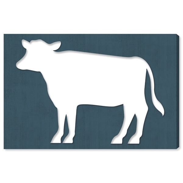 Oliver Gal 'Cow Wood Cutout Blue' Farmhouse Canvas Art