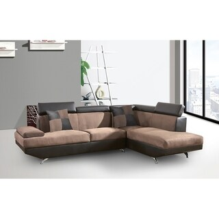 Best Master Furniture 2 Pieces Brown and Espresso Sectional