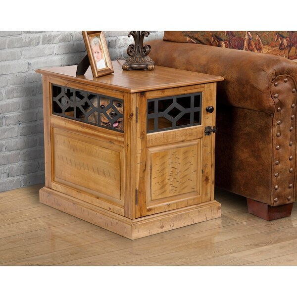 American Furniture Acacia Solid Hardwood End Table Dog Crate