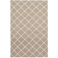 eCarpetGallery Flatweave Ankara Kilim Grey Wool Rug - 5'1 x 8'0