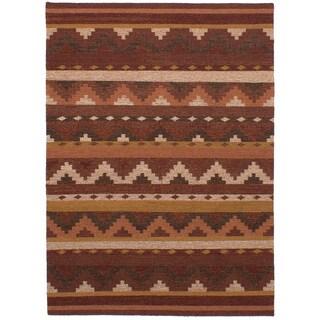 eCarpetGallery Ankara Red/Multicolor Wool Flatweave Kilim Area Rug (5'9 x 7'10)