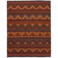 eCarpetGallery Ankara Red Wool Flatweave Kilim (5'9 x 7'9)