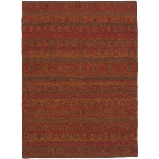 eCarpetGallery Red Wool/Cotton Flatweave Ankara Kilim (5'9 x 8'0)