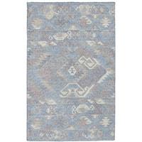 "eCarpetGallery Kozak Blue Wool Flatweave Sumak Area Rug (4'11 x 8'0) - 4'11"" x 8'"