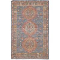 eCarpetGallery Flatweave Kozak Blue Wool/Cotton Sumak Rug (4'11 x 8'0)