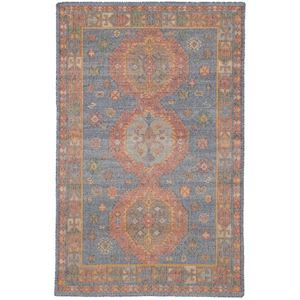 "eCarpetGallery Flatweave Kozak Blue Wool/Cotton Sumak Rug (4'11 x 8'0) - 4'11"" x 8'"