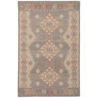 "eCarpetGallery Kozak Brown/Ivory Wool Flatweave Sumak Area Rug (4'11 x 8'0) - 4'11"" x 8'"