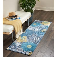 "Nourison Passion Blue/Yellow Floral Runner Rug - 1'10""x6'"