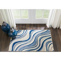 "Nourison Somerset Ivory/Blue Area Rug (2'6X 4' ) - 2'6"" x 4'"