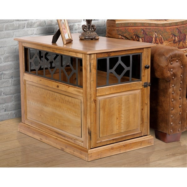 cool end table dog crate furniture | Shop American Furniture Acacia Solid Hardwood Dog Crate ...