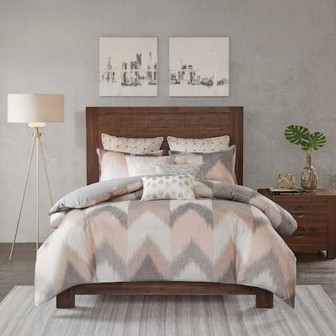 Carson Carrington Elva Blush Cotton Printed Duvet Cover 3-piece Set