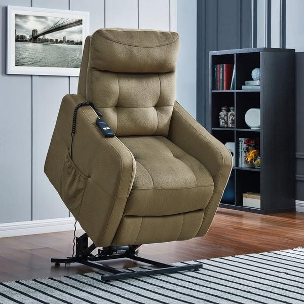 ProLounger Sage Green Velour Power Recline and Lift Chair
