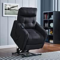 ProLounger Navy Blue Velour Power Recline and Lift Chair
