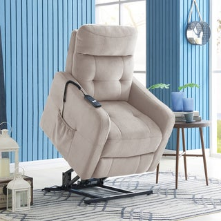ProLounger Platinum Grey Velour Power Recline and Lift Chair