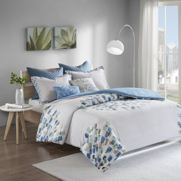 Shop Urban Habitat Jayden Blue 7-piece Cotton Duvet Cover Set ...